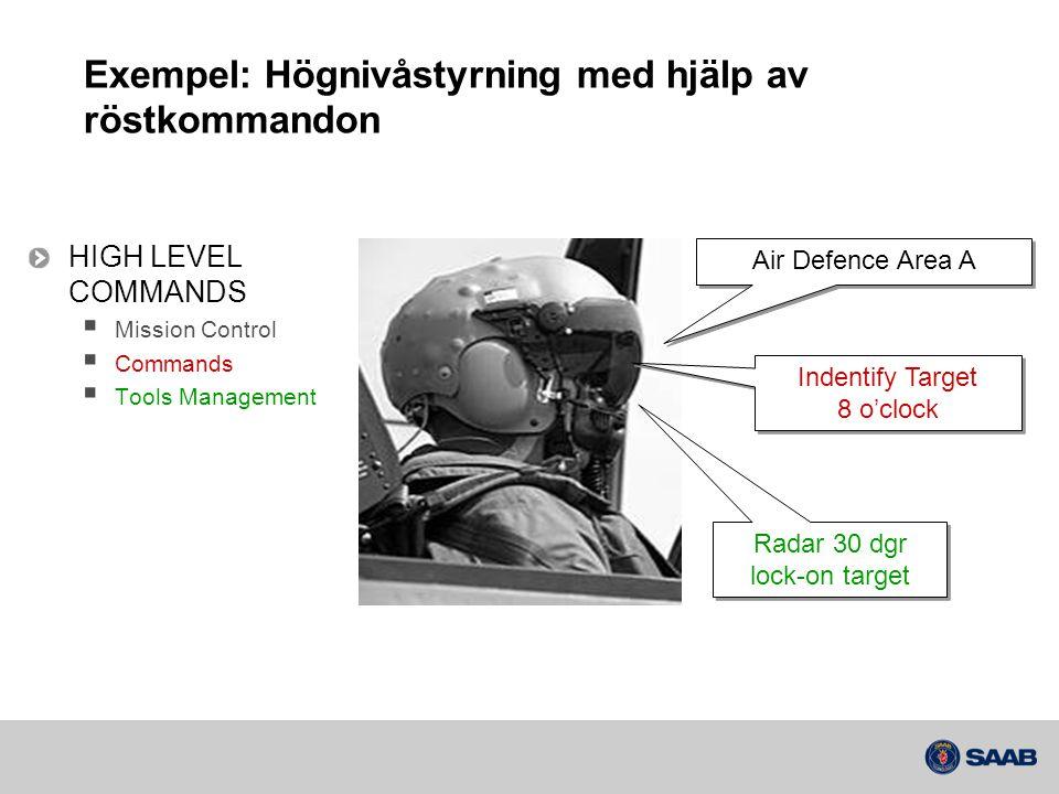 Exempel: Högnivåstyrning med hjälp av röstkommandon HIGH LEVEL COMMANDS  Mission Control  Commands  Tools Management Air Defence Area A Indentify T