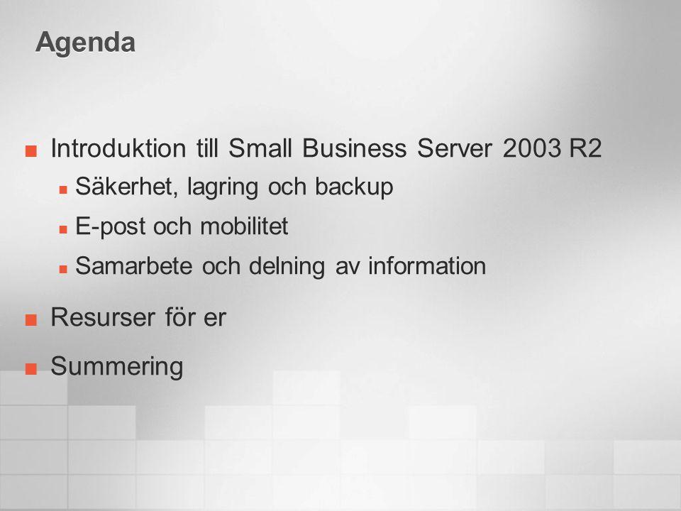Introduktion till Small Business Server 2003 R2 Windows Small Business Server 2003 R2 erbjuder funktioner som tidigare endast fanns för större företag  E-post  Säker anslutning till Internet  Intranät för företaget  Möjligheter för fjärranslutning  Stöd för Windows Mobile ® -baserad enheter  Fil- och skrivardelning  Hantering av patchar och uppdateringar  Möjligheter för backup och restore Allt i en lösning som är enkelt att driftsätta, hantera och som kunden har råd med