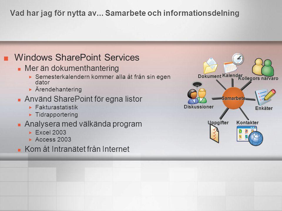 Windows SharePoint Services Mer än dokumenthantering  Semesterkalendern kommer alla åt från sin egen dator  Ärendehantering Använd SharePoint för eg