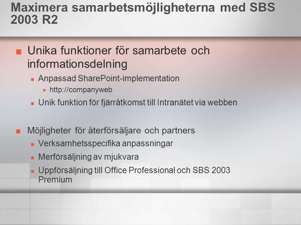 Unika funktioner för samarbete och informationsdelning Anpassad SharePoint-implementation  http://companyweb Unik funktion för fjärråtkomst till Intranätet via webben Möjligheter för återförsäljare och partners Verksamhetsspecifika anpassningar Merförsäljning av mjukvara Uppförsäljning till Office Professional och SBS 2003 Premium Maximera samarbetsmöjligheterna med SBS 2003 R2