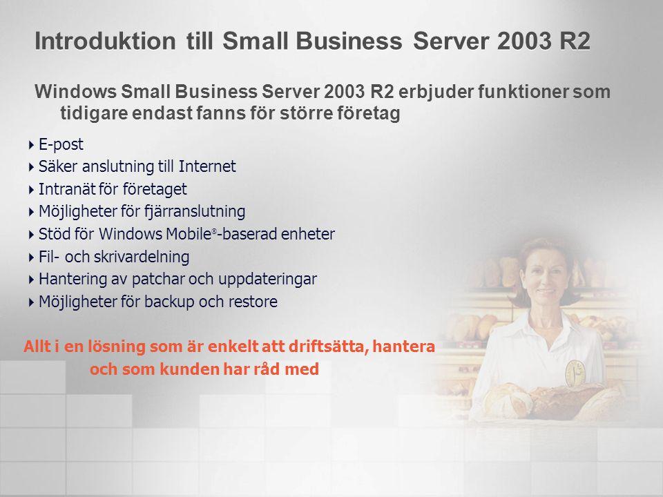 Introduktion till Small Business Server 2003 R2 Windows Small Business Server 2003 R2 erbjuder funktioner som tidigare endast fanns för större företag