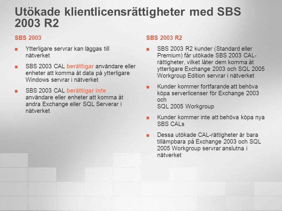 Utökade klientlicensrättigheter med SBS 2003 R2 SBS 2003 Ytterligare servrar kan läggas till nätverket SBS 2003 CAL berättigar användare eller enheter att komma åt data på ytterligare Windows servrar i nätverket SBS 2003 CAL berättigar inte användare eller enheter att komma åt andra Exchange eller SQL Serverar i nätverket SBS 2003 R2 SBS 2003 R2 kunder (Standard eller Premium) får utökade SBS 2003 CAL- rättigheter, vilket låter dem komma åt ytterligare Exchange 2003 och SQL 2005 Workgroup Edition servrar i nätverket Kunder kommer fortfarande att behöva köpa serverlicenser för Exchange 2003 och SQL 2005 Workgroup Kunder kommer inte att behöva köpa nya SBS CALs Dessa utökade CAL-rättigheter är bara tillämpbara på Exchange 2003 och SQL 2005 Workgroup servrar anslutna i nätverket