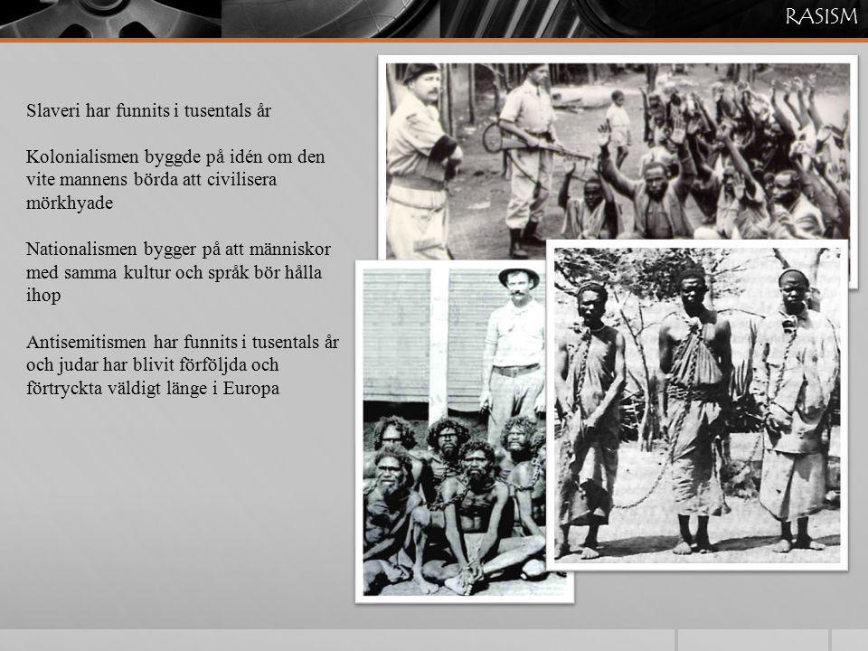Slaveri har funnits i tusentals år Kolonialismen byggde på idén om den vite mannens börda att civilisera mörkhyade Nationalismen bygger på att människ