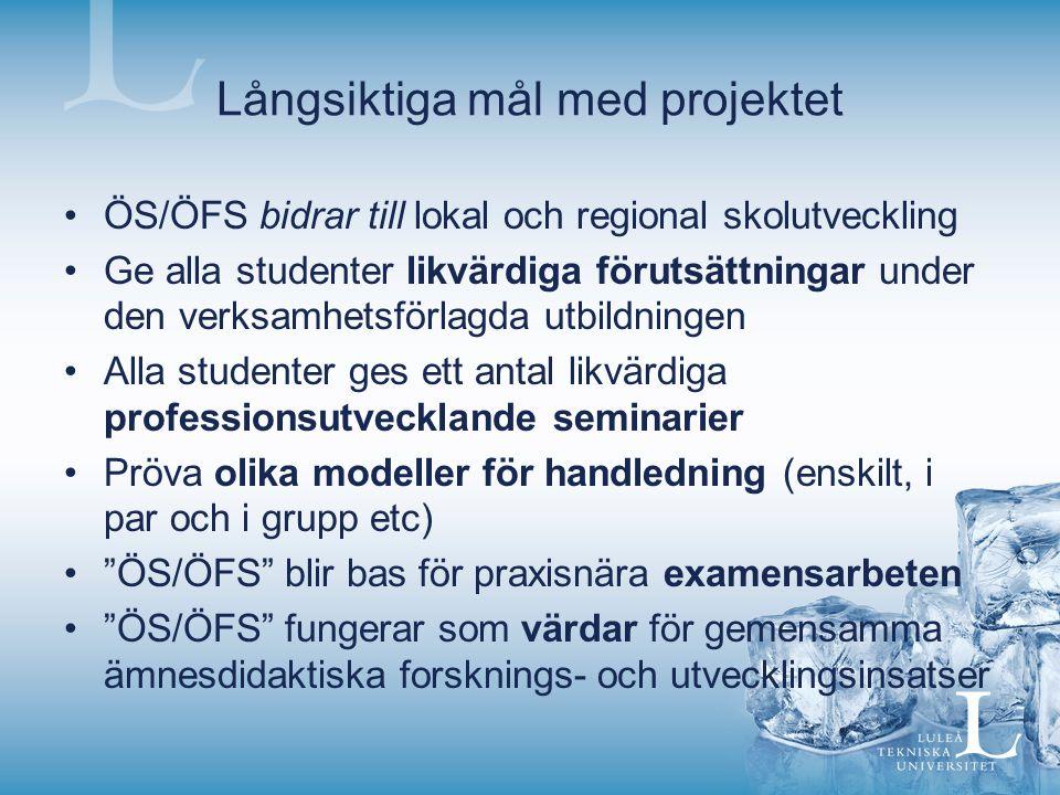 Långsiktiga mål med projektet ÖS/ÖFS bidrar till lokal och regional skolutveckling Ge alla studenter likvärdiga förutsättningar under den verksamhetsförlagda utbildningen Alla studenter ges ett antal likvärdiga professionsutvecklande seminarier Pröva olika modeller för handledning (enskilt, i par och i grupp etc) ÖS/ÖFS blir bas för praxisnära examensarbeten ÖS/ÖFS fungerar som värdar för gemensamma ämnesdidaktiska forsknings- och utvecklingsinsatser