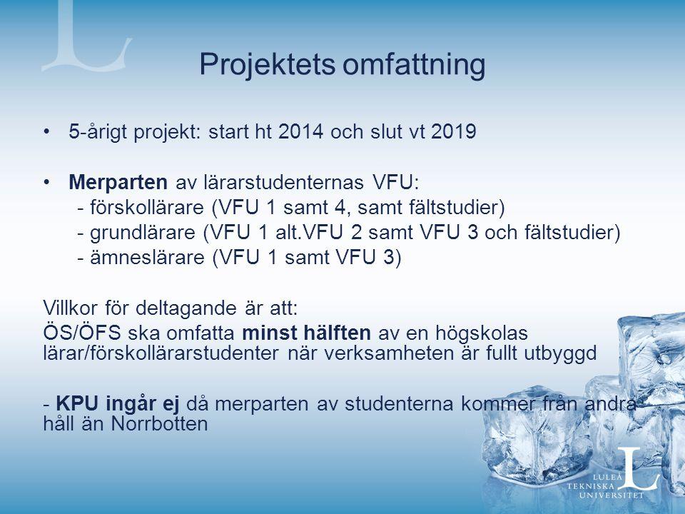 Projektets omfattning 5-årigt projekt: start ht 2014 och slut vt 2019 Merparten av lärarstudenternas VFU: - förskollärare (VFU 1 samt 4, samt fältstudier) - grundlärare (VFU 1 alt.VFU 2 samt VFU 3 och fältstudier) - ämneslärare (VFU 1 samt VFU 3) Villkor för deltagande är att: ÖS/ÖFS ska omfatta minst hälften av en högskolas lärar/förskollärarstudenter när verksamheten är fullt utbyggd - KPU ingår ej då merparten av studenterna kommer från andra håll än Norrbotten