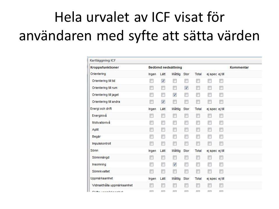 Hela urvalet av ICF visat för användaren med syfte att sätta värden