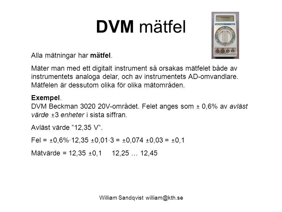 William Sandqvist william@kth.se DVM mätfel Alla mätningar har mätfel. Mäter man med ett digitalt instrument så orsakas mätfelet både av instrumentets