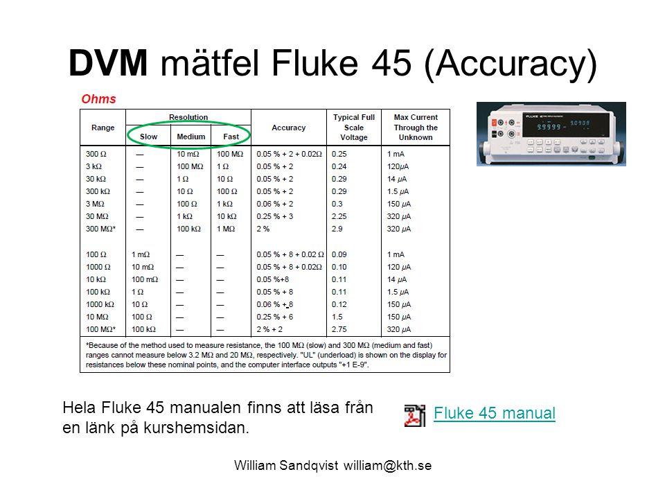 William Sandqvist william@kth.se DVM mätfel Fluke 45 (Accuracy) Fluke 45 manual Hela Fluke 45 manualen finns att läsa från en länk på kurshemsidan.