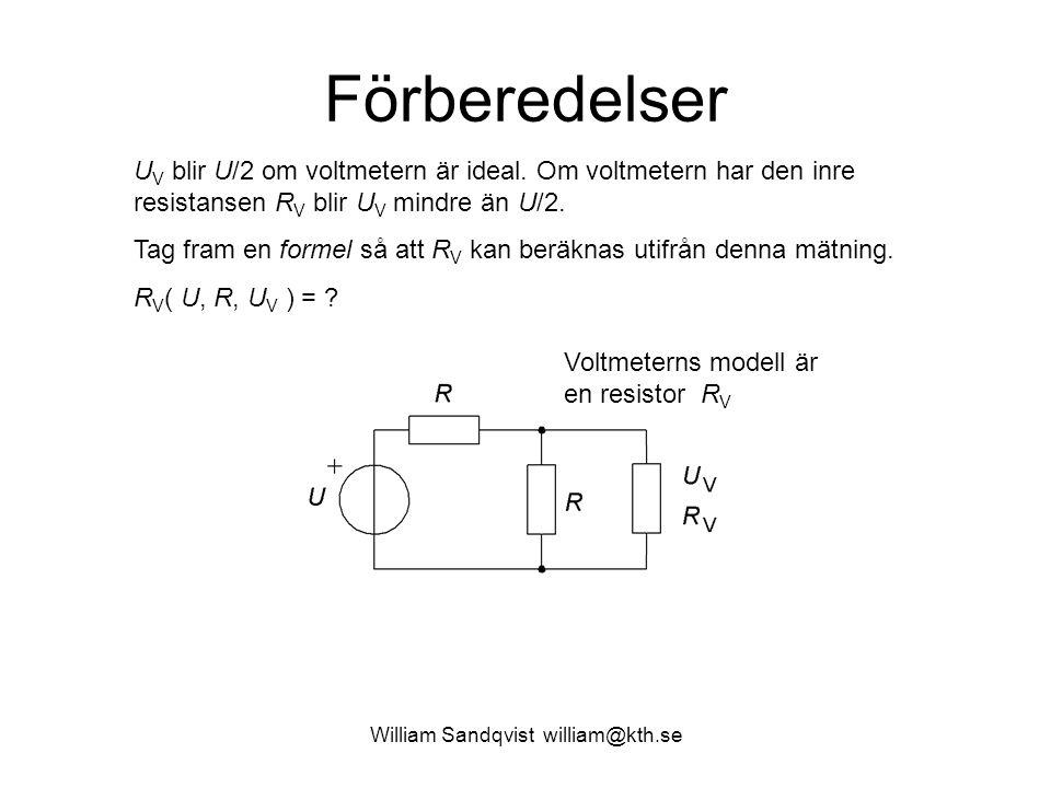 William Sandqvist william@kth.se Förberedelser Voltmeterns modell är en resistor R V Spänningsdelning: Hur löser man ut R V ?