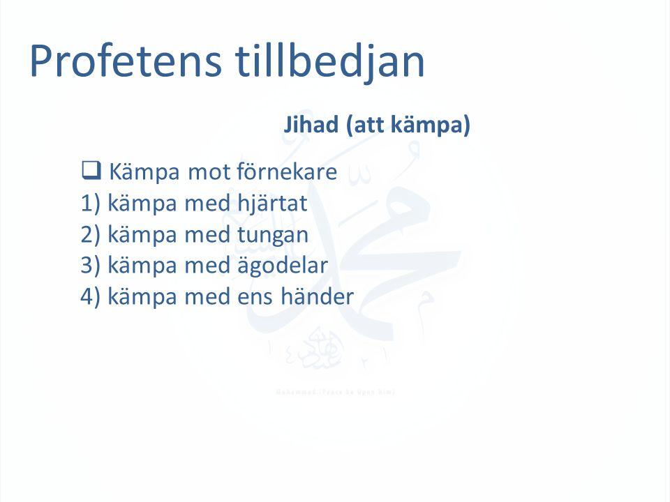 Profetens tillbedjan Jihad (att kämpa)  Kämpa mot förnekare 1) kämpa med hjärtat 2) kämpa med tungan 3) kämpa med ägodelar 4) kämpa med ens händer