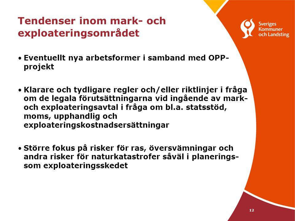 12 Tendenser inom mark- och exploateringsområdet Eventuellt nya arbetsformer i samband med OPP- projekt Klarare och tydligare regler och/eller riktlin
