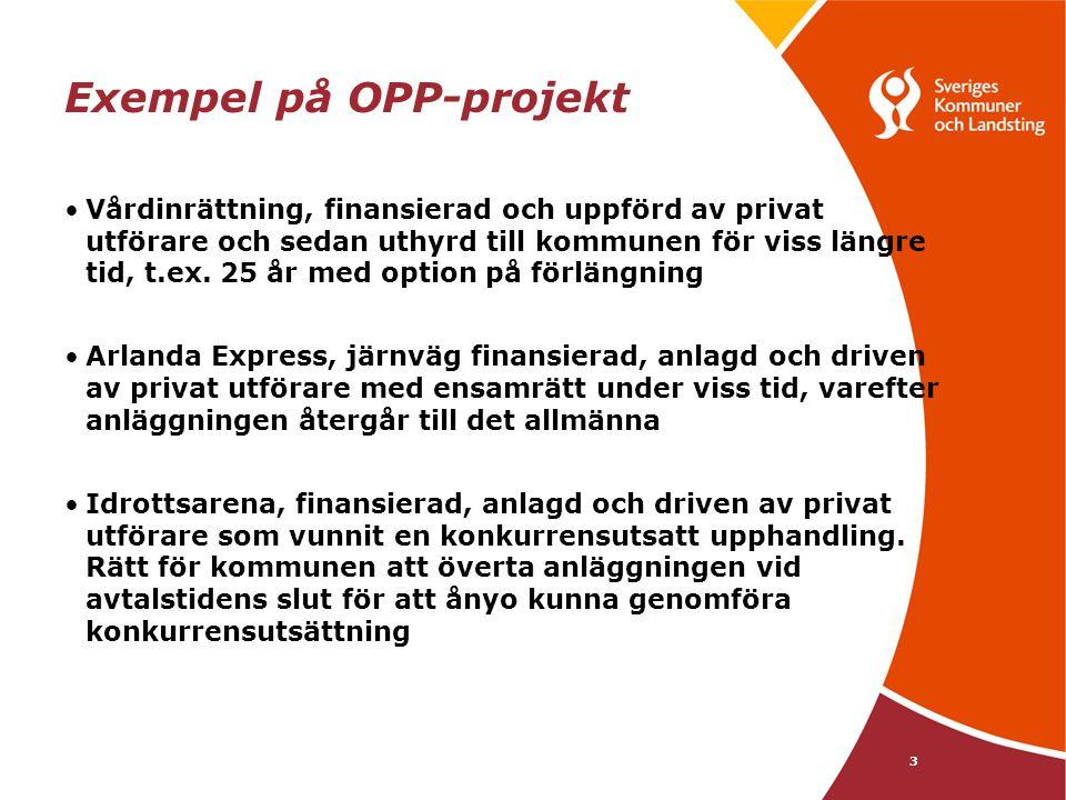3 Exempel på OPP-projekt Vårdinrättning, finansierad och uppförd av privat utförare och sedan uthyrd till kommunen för viss längre tid, t.ex. 25 år me