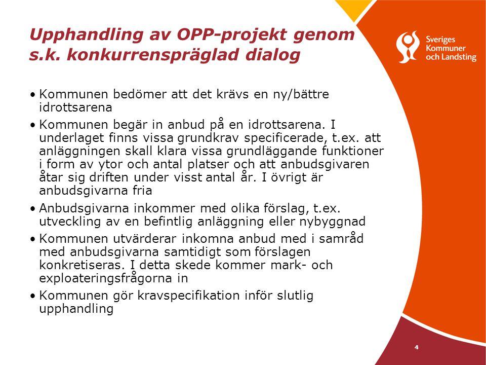 4 Upphandling av OPP-projekt genom s.k. konkurrenspräglad dialog Kommunen bedömer att det krävs en ny/bättre idrottsarena Kommunen begär in anbud på e