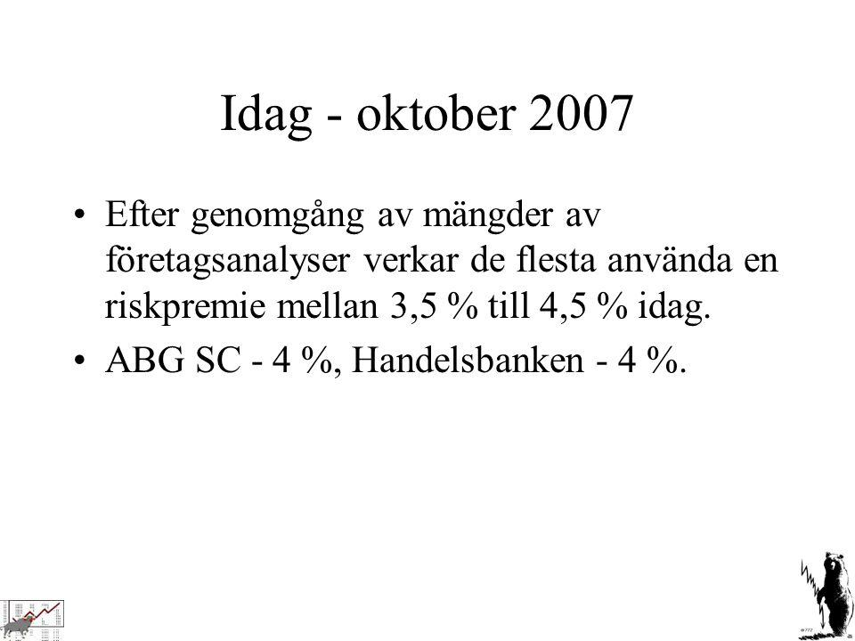 Idag - oktober 2007 Efter genomgång av mängder av företagsanalyser verkar de flesta använda en riskpremie mellan 3,5 % till 4,5 % idag. ABG SC - 4 %,