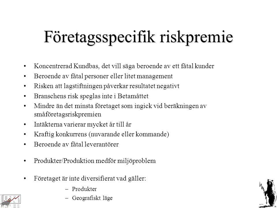 Företagsspecifik riskpremie Koncentrerad Kundbas, det vill säga beroende av ett fåtal kunder Beroende av fåtal personer eller litet management Risken