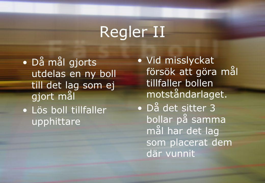 Regler II Då mål gjorts utdelas en ny boll till det lag som ej gjort mål Lös boll tillfaller upphittare Vid misslyckat försök att göra mål tillfaller bollen motståndarlaget.