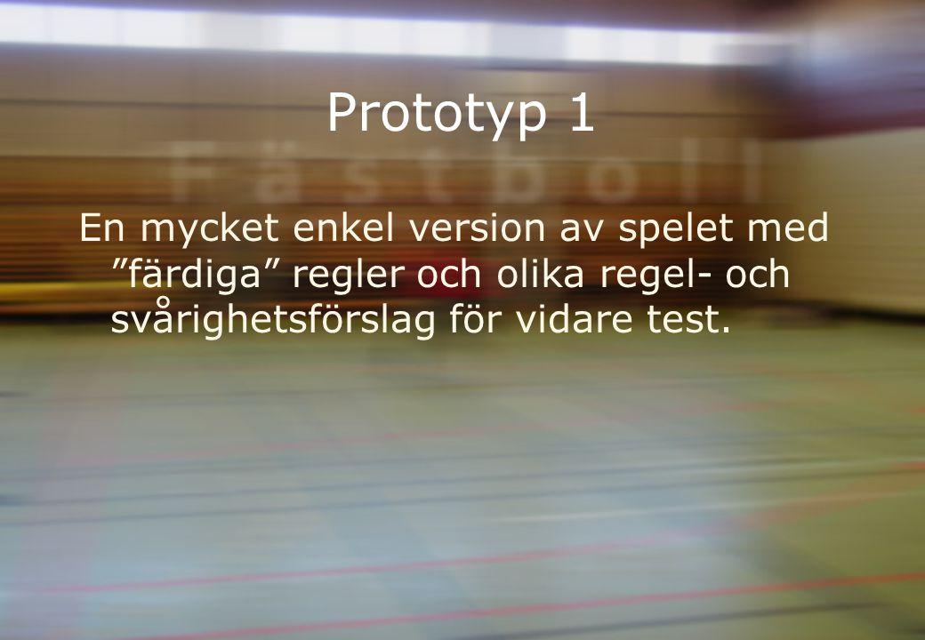 Prototyp 1 En mycket enkel version av spelet med färdiga regler och olika regel- och svårighetsförslag för vidare test.