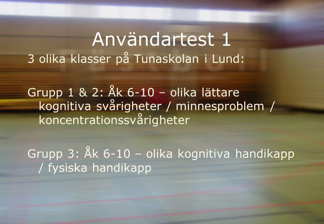 Användartest 1 3 olika klasser på Tunaskolan i Lund: Grupp 1 & 2: Åk 6-10 – olika lättare kognitiva svårigheter / minnesproblem / koncentrationssvårigheter Grupp 3: Åk 6-10 – olika kognitiva handikapp / fysiska handikapp