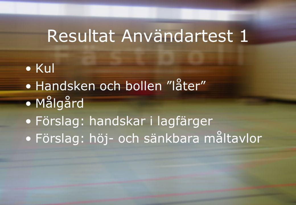 Resultat Användartest 1 Kul Handsken och bollen låter Målgård Förslag: handskar i lagfärger Förslag: höj- och sänkbara måltavlor