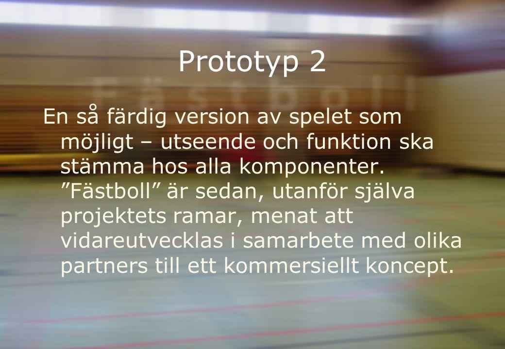 Prototyp 2 En så färdig version av spelet som möjligt – utseende och funktion ska stämma hos alla komponenter.