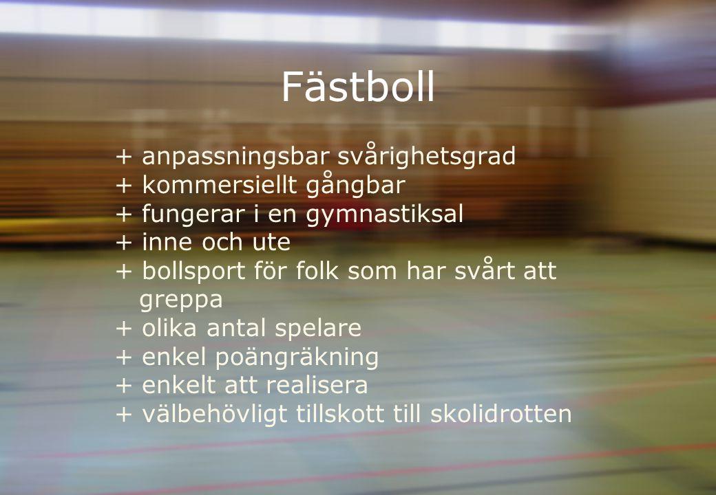 Fästboll + anpassningsbar svårighetsgrad + kommersiellt gångbar + fungerar i en gymnastiksal + inne och ute + bollsport för folk som har svårt att greppa + olika antal spelare + enkel poängräkning + enkelt att realisera + välbehövligt tillskott till skolidrotten