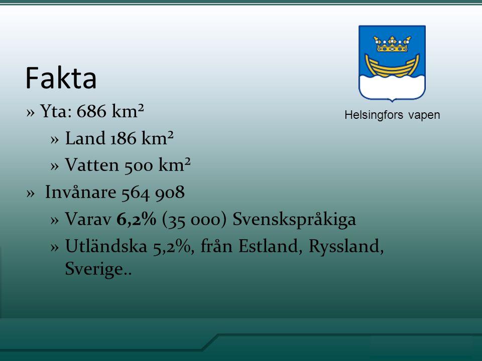 Fakta »Yta: 686 km² »Land 186 km² »Vatten 500 km² » Invånare 564 908 »Varav 6,2% (35 000) Svenskspråkiga »Utländska 5,2%, från Estland, Ryssland, Sverige..