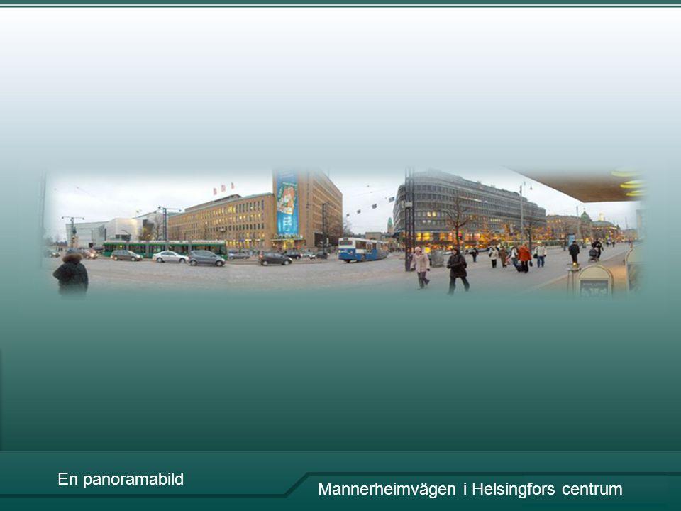 En panoramabild Mannerheimvägen i Helsingfors centrum