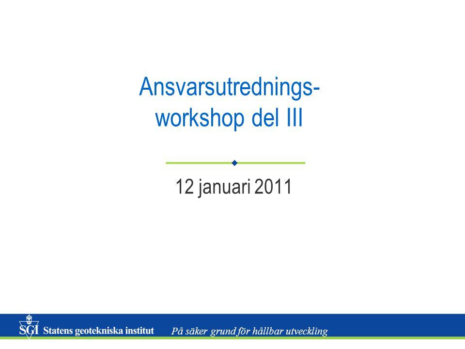 På säker grund för hållbar utveckling Ansvarsutrednings- workshop del III 12 januari 2011