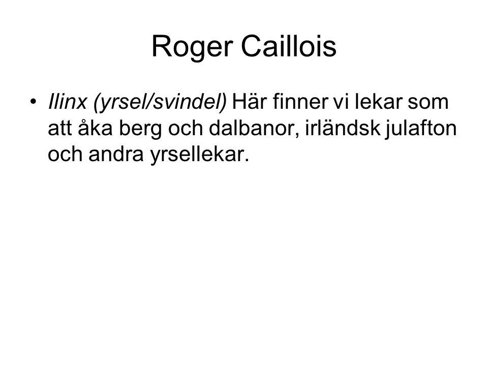 Roger Caillois Mimicry (härmning) Här återfinner vi lekar som tex. barns härmande av ett flygplan med utfällda armar liksom teater och film som bygger