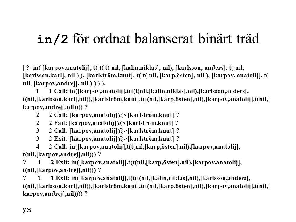 in/2 för ordnat balanserat binärt träd | ?- in( [karpov,anatolij], t( t( t( nil, [kalin,niklas], nil), [karlsson, anders], t( nil, [karlsson,karl], ni