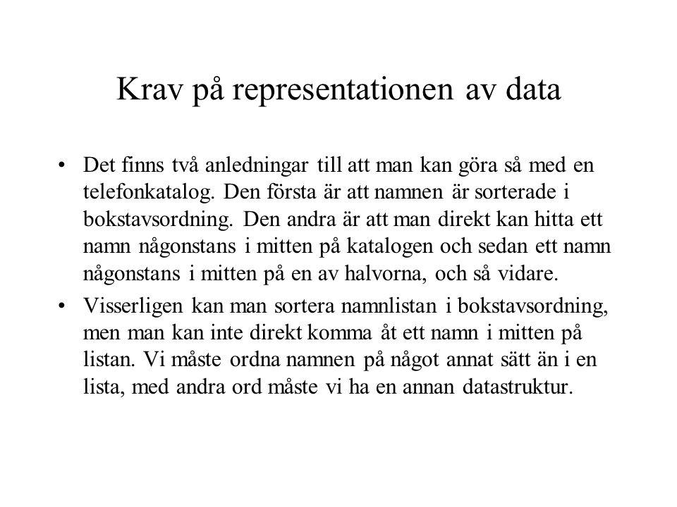 Krav på representationen av data Det finns två anledningar till att man kan göra så med en telefonkatalog. Den första är att namnen är sorterade i bok