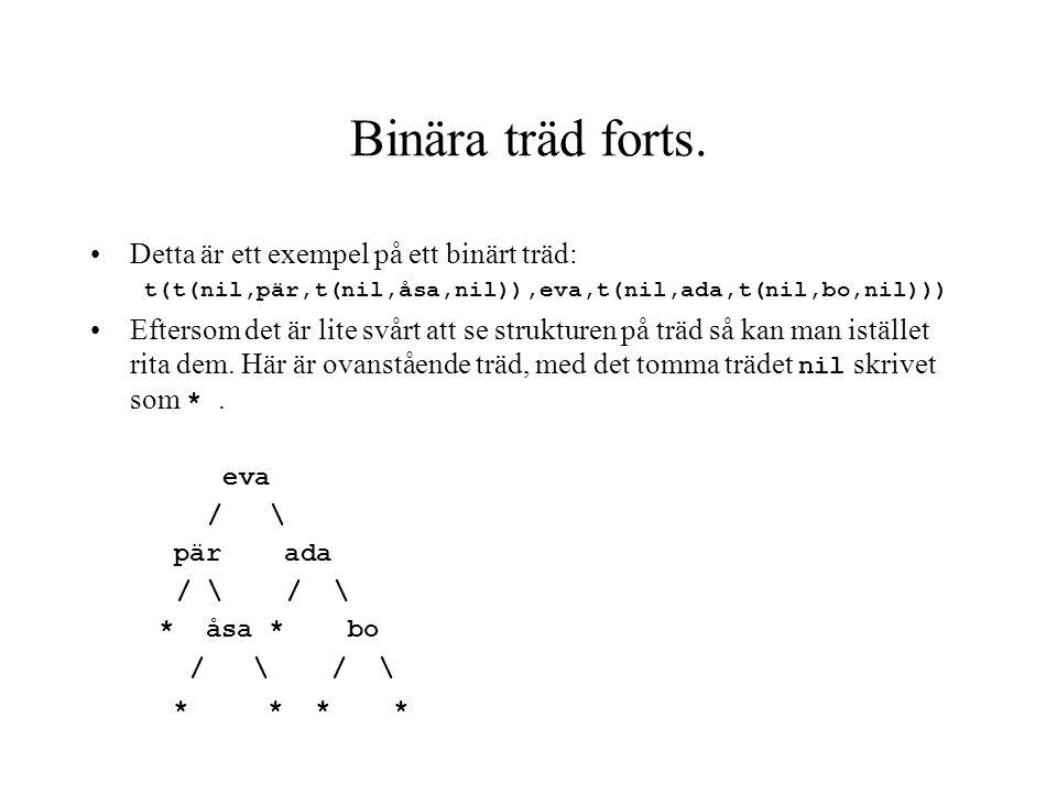 Detta är ett exempel på ett binärt träd: t(t(nil,pär,t(nil,åsa,nil)),eva,t(nil,ada,t(nil,bo,nil))) Eftersom det är lite svårt att se strukturen på trä