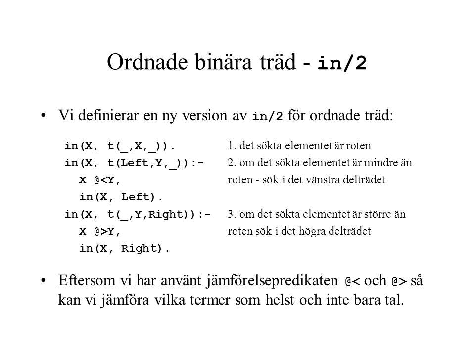 Ordnade binära träd - in/2 Vi definierar en ny version av in/2 för ordnade träd: in(X, t(_,X,_)). 1. det sökta elementet är roten in(X, t(Left,Y,_)):-