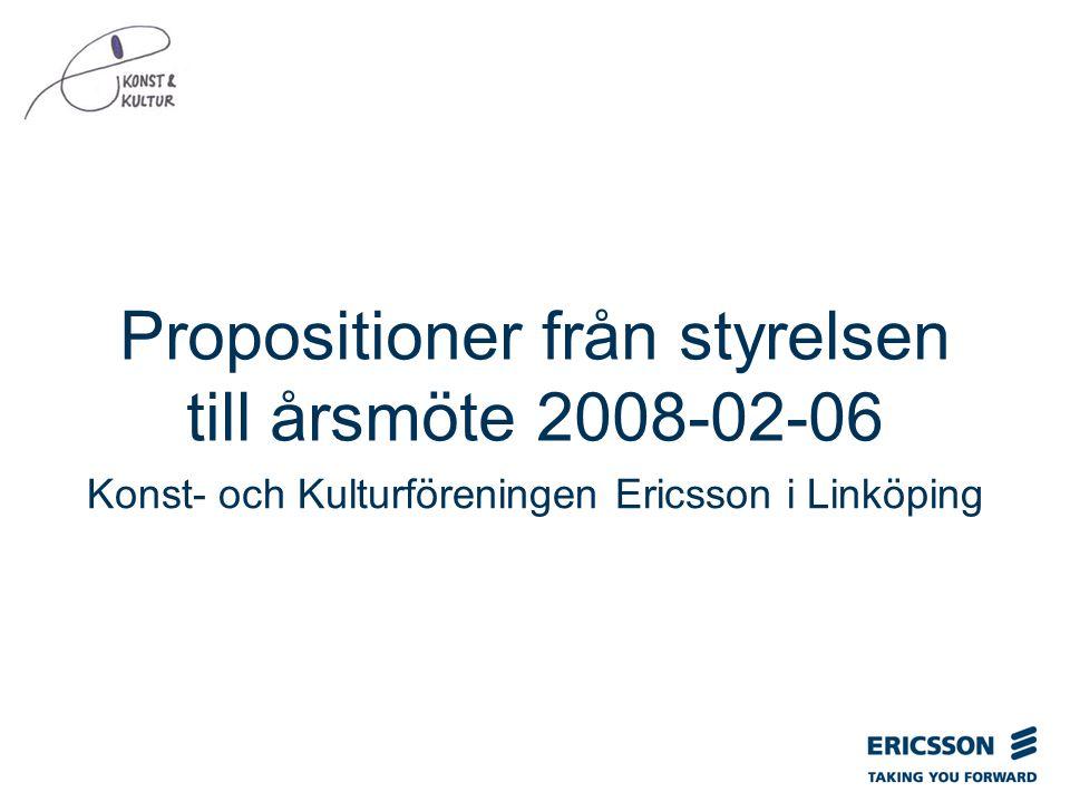 Slide title In CAPITALS 50 pt Slide subtitle 32 pt Propositioner från styrelsen till årsmöte 2008-02-06 Konst- och Kulturföreningen Ericsson i Linköping