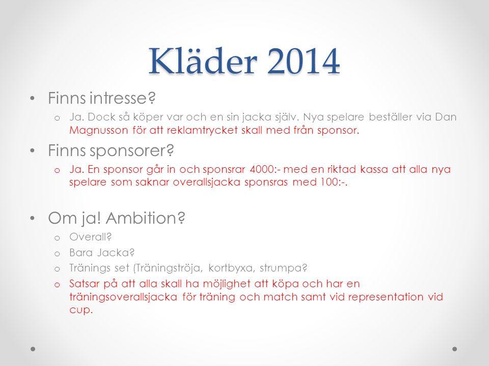 Kläder 2014 Finns intresse. o Ja. Dock så köper var och en sin jacka själv.