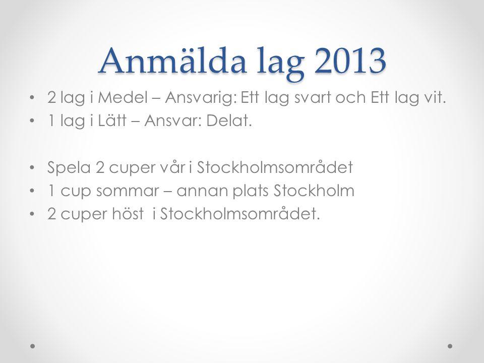 Anmälda lag 2013 2 lag i Medel – Ansvarig: Ett lag svart och Ett lag vit.
