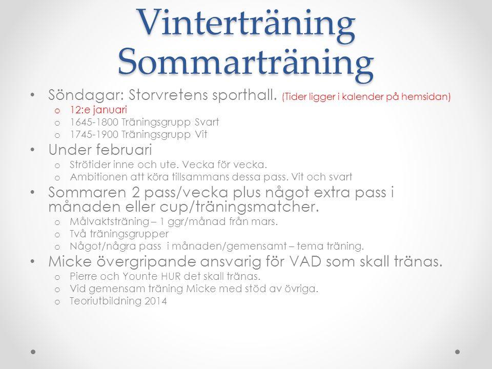 Vinterträning Sommarträning Söndagar: Storvretens sporthall.
