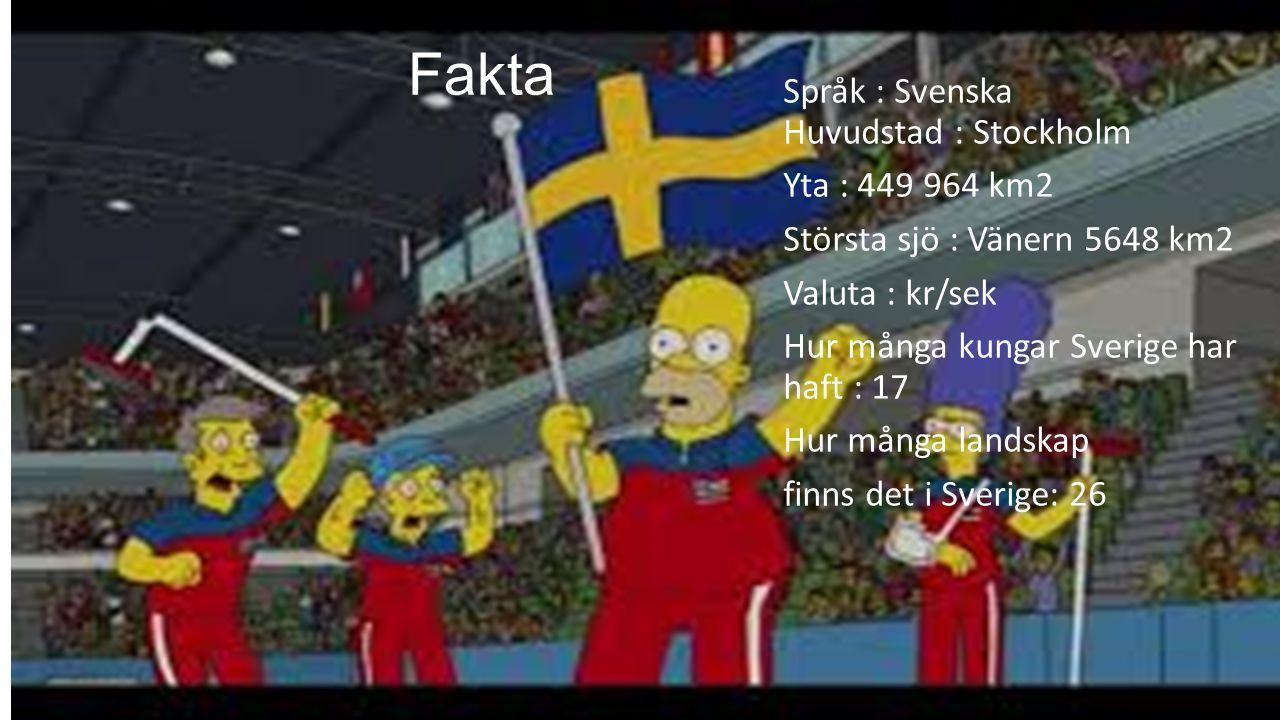 Fakta Språk : Svenska Huvudstad : Stockholm Yta : 449 964 km2 Största sjö : Vänern 5648 km2 Valuta : kr/sek Hur många kungar Sverige har haft : 17 Hur många landskap finns det i Sverige: 26
