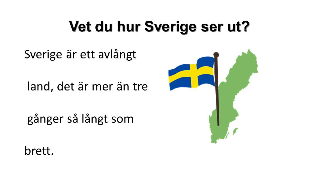 Vet du hur Sverige ser ut? Sverige är ett avlångt land, det är mer än tre gånger så långt som brett.