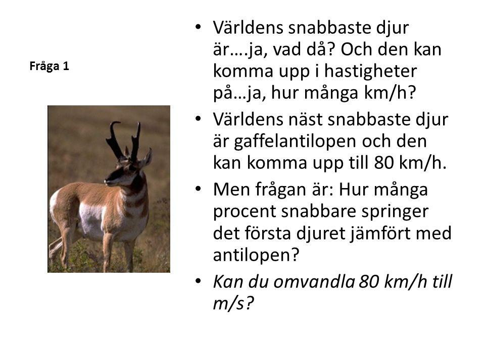 Fråga 1 Världens snabbaste djur är….ja, vad då.