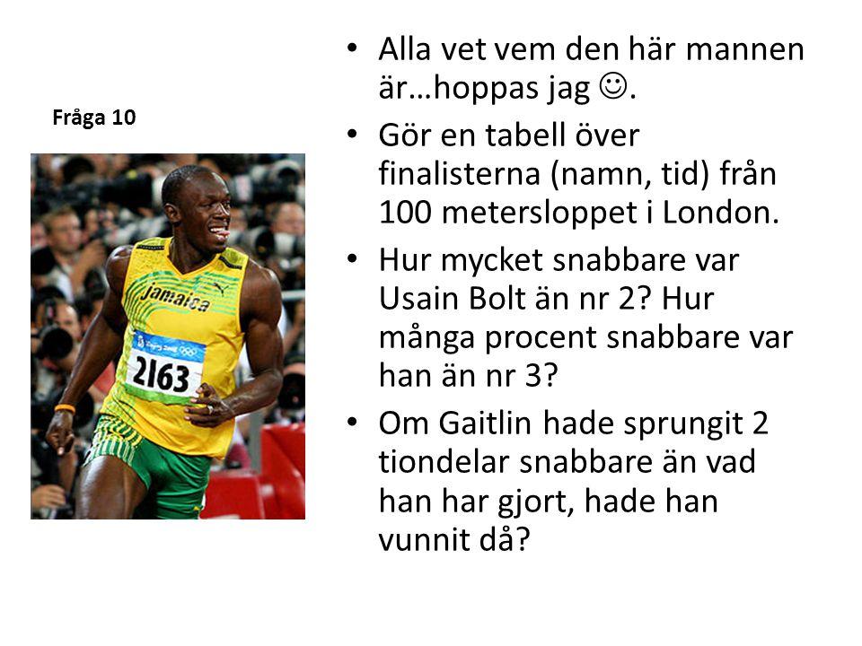 Fråga 10 Alla vet vem den här mannen är…hoppas jag. Gör en tabell över finalisterna (namn, tid) från 100 metersloppet i London. Hur mycket snabbare va