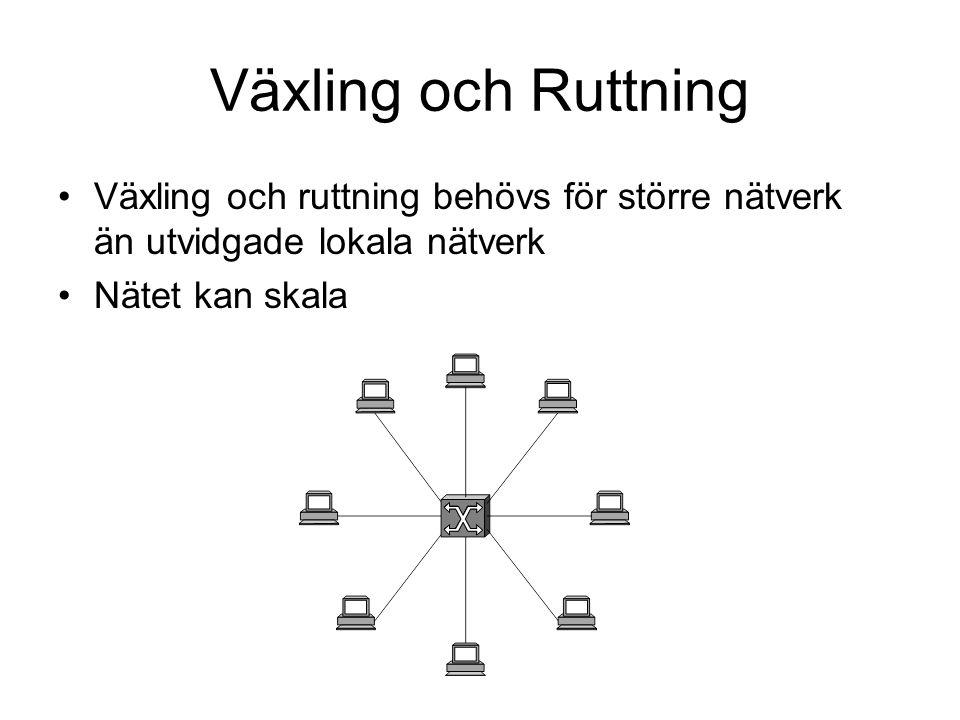 Växling och Ruttning Växling och ruttning behövs för större nätverk än utvidgade lokala nätverk Nätet kan skala