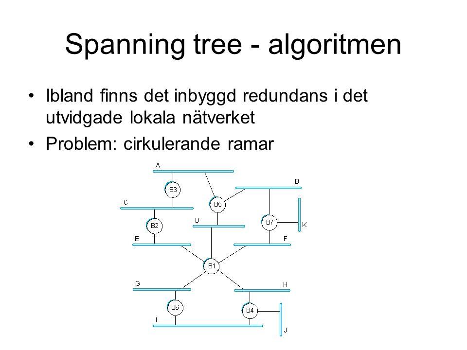 Spanning tree - algoritmen Ibland finns det inbyggd redundans i det utvidgade lokala nätverket Problem: cirkulerande ramar