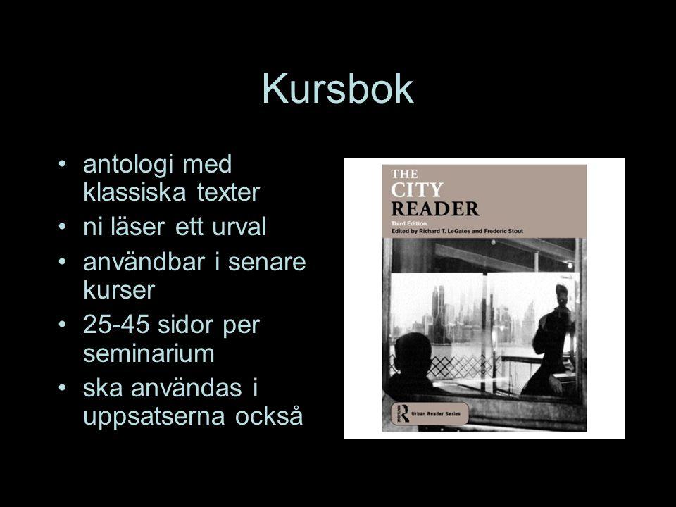 Kursbok antologi med klassiska texter ni läser ett urval användbar i senare kurser 25-45 sidor per seminarium ska användas i uppsatserna också