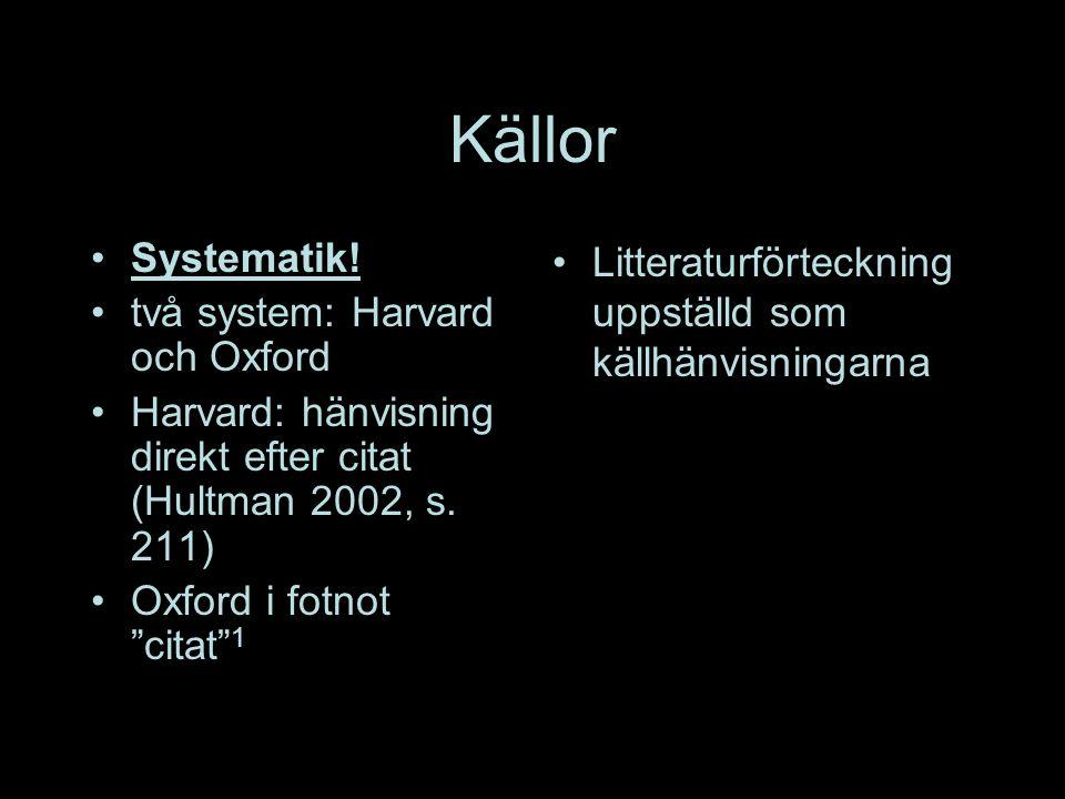 Källor Systematik.