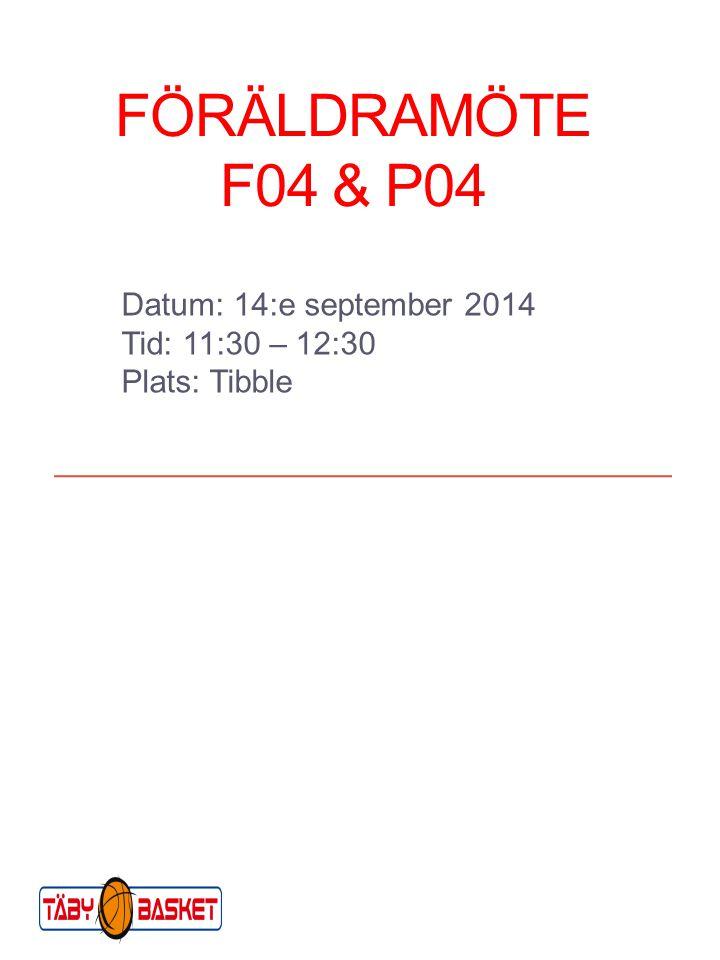 FÖRÄLDRAMÖTE F04 & P04 Datum: 14:e september 2014 Tid: 11:30 – 12:30 Plats: Tibble