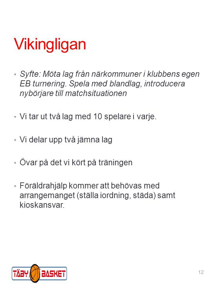 Vikingligan Syfte: Möta lag från närkommuner i klubbens egen EB turnering. Spela med blandlag, introducera nybörjare till matchsituationen Vi tar ut t