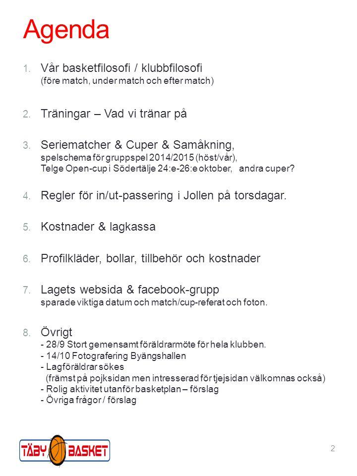 Agenda 1. Vår basketfilosofi / klubbfilosofi (före match, under match och efter match) 2. Träningar – Vad vi tränar på 3. Seriematcher & Cuper & Samåk
