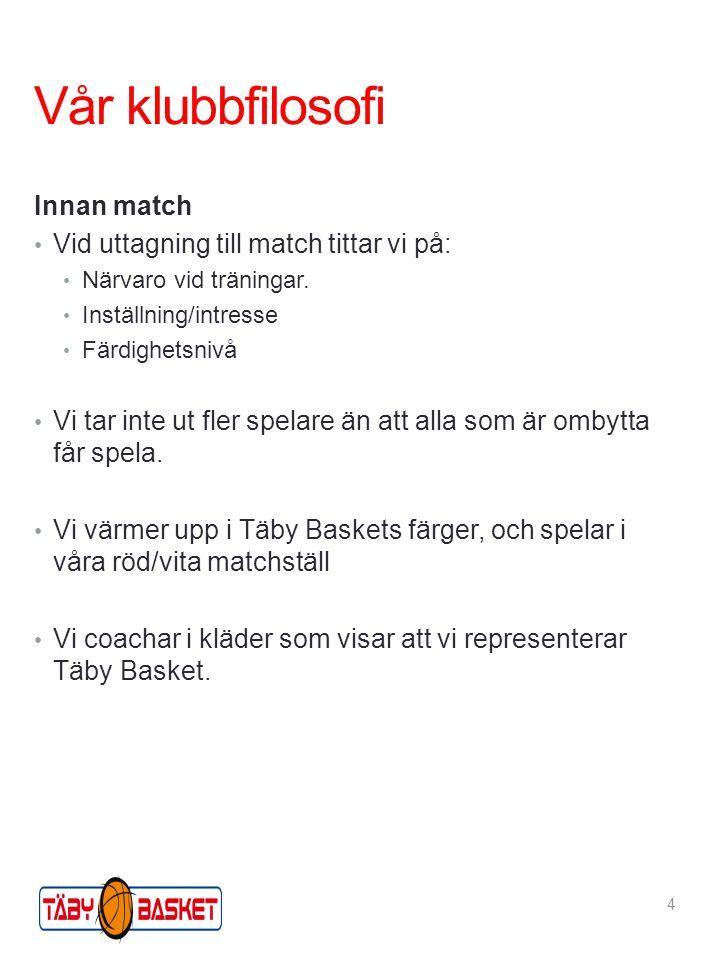 Vår klubbfilosofi Innan match Vid uttagning till match tittar vi på: Närvaro vid träningar.