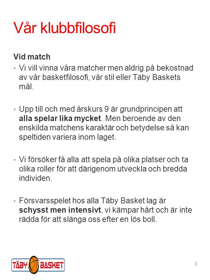 Vår klubbfilosofi Vid match Vi vill vinna våra matcher men aldrig på bekostnad av vår basketfilosofi, vår stil eller Täby Baskets mål.